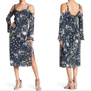 Band Of Gypsies Floral Cold Shoulder Midi Dress